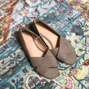 NWOT Gap Tan Suede Open Toe Flats Size 8